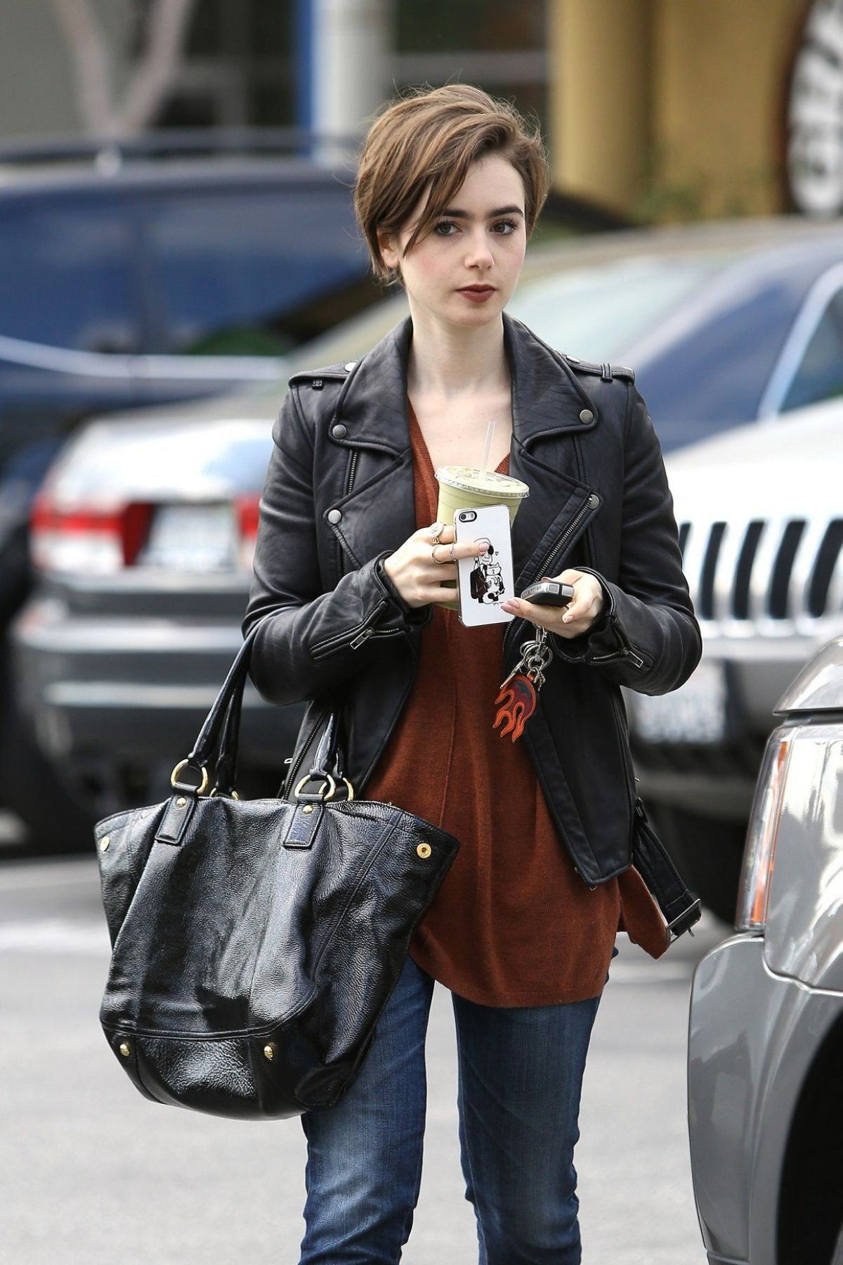 LILY COLLINS Out and About in West Hollywood 2302