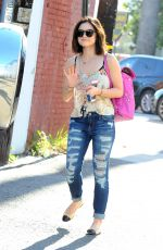 Lucy Hale in Ripped Jeans Leaves a Gym in Los Angeles