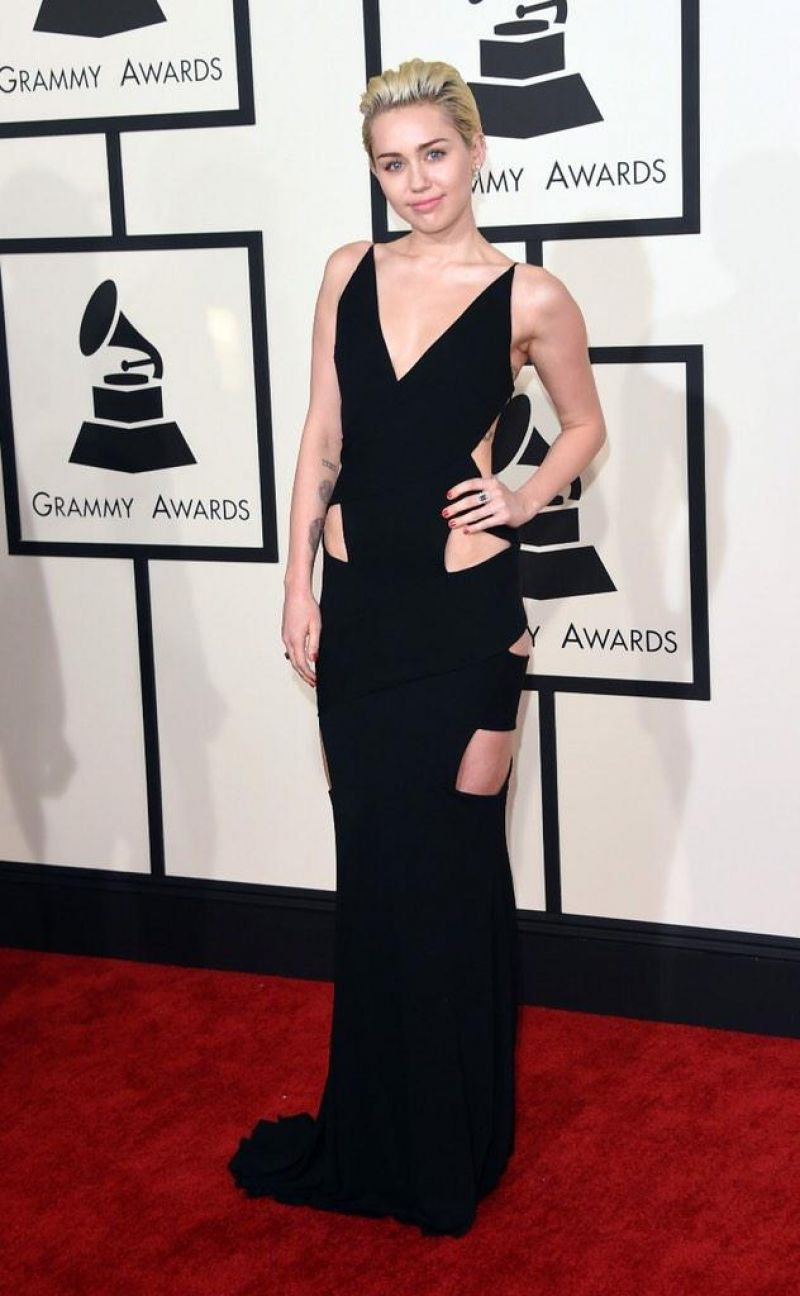 MILEY CYRUS at 2015 Grammy Awards in Los Angeles