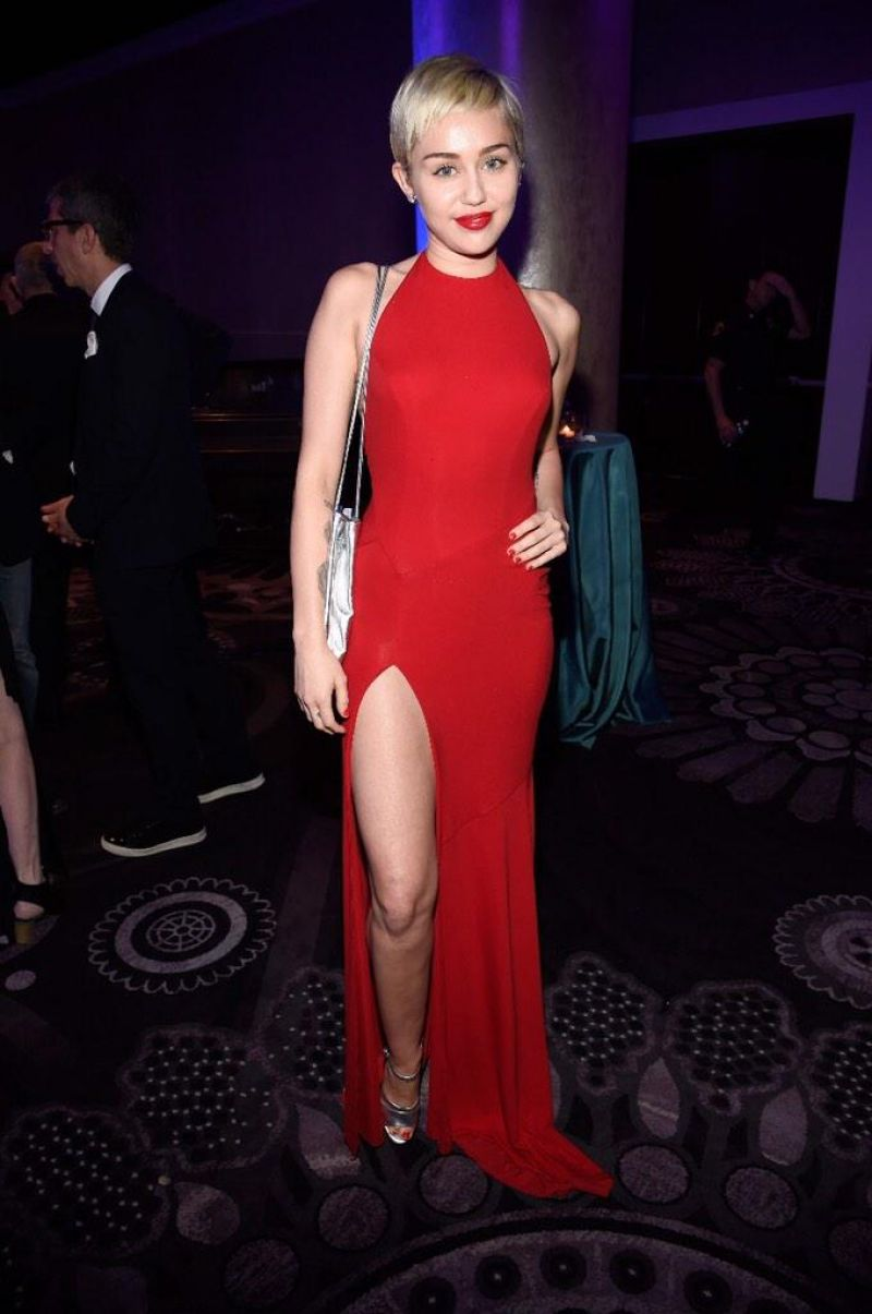 MILEY CYRUS at Clive Davis Pre-grammy Bash in Beverly Hills