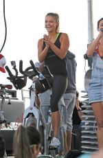 NINA AGDAL at Supersweat Redbike Spinning Event in Miami