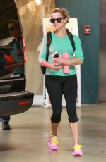 REESE WITHERSPOON in Tights Leaves a Gym in Santa Monica 2002