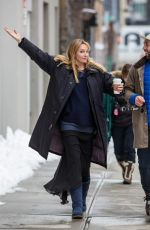 UMA THURMAN on the Set of The Slap in New York