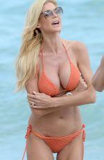 VICTORIA SILVSTEDT in Orange Bikini at a Beach in Miami