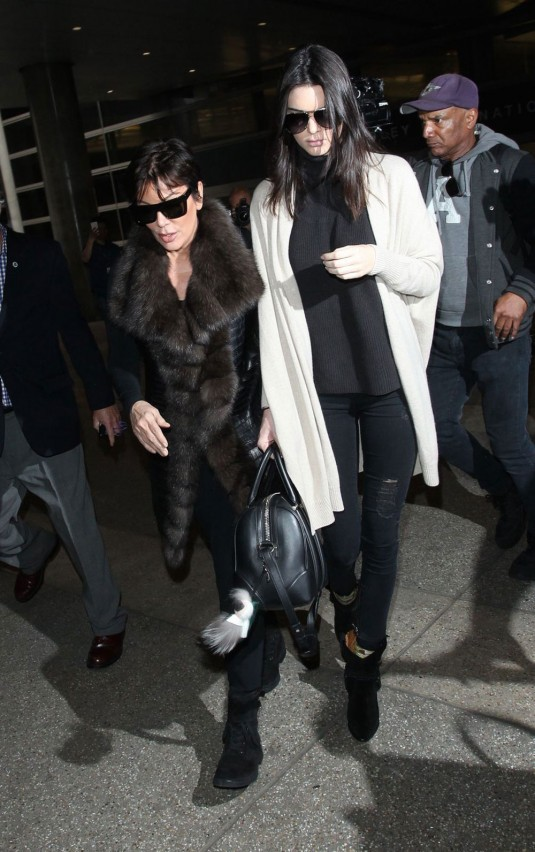 KENDALL and KRIS JENNER at Los Angeles International Airport