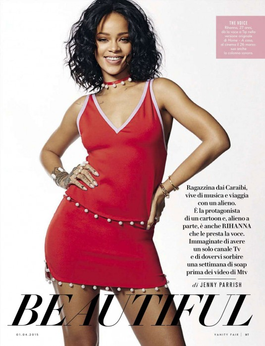 RIHANNA in Vanity Fair Magazine, Italy April 2015 Issue