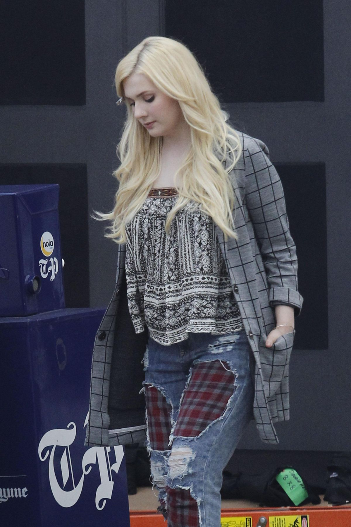 ABIGAIL BRESLIN on the Set of Scream Queen in New Orleans