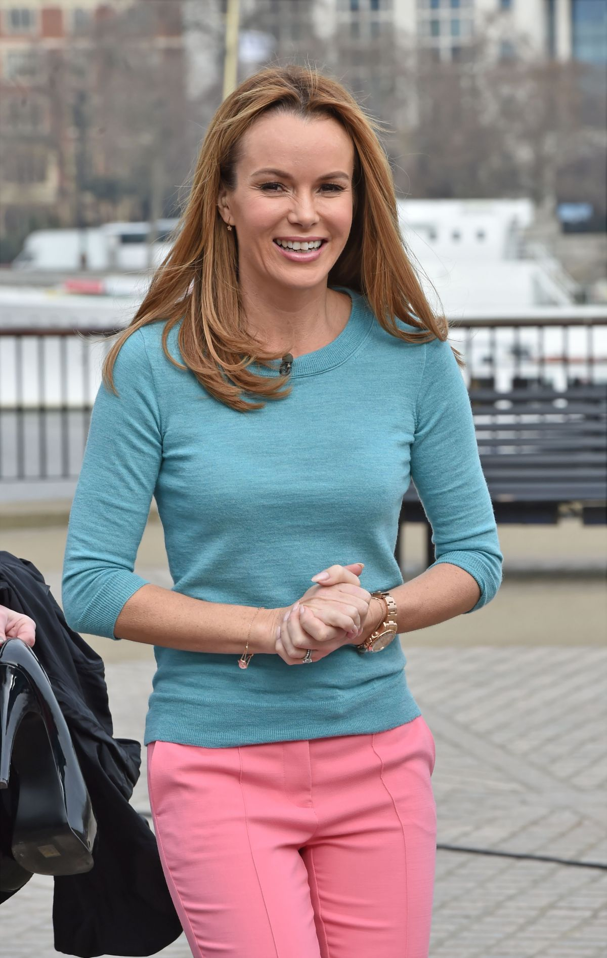 AMANDA HOLDEN on the Set of This Morning in London