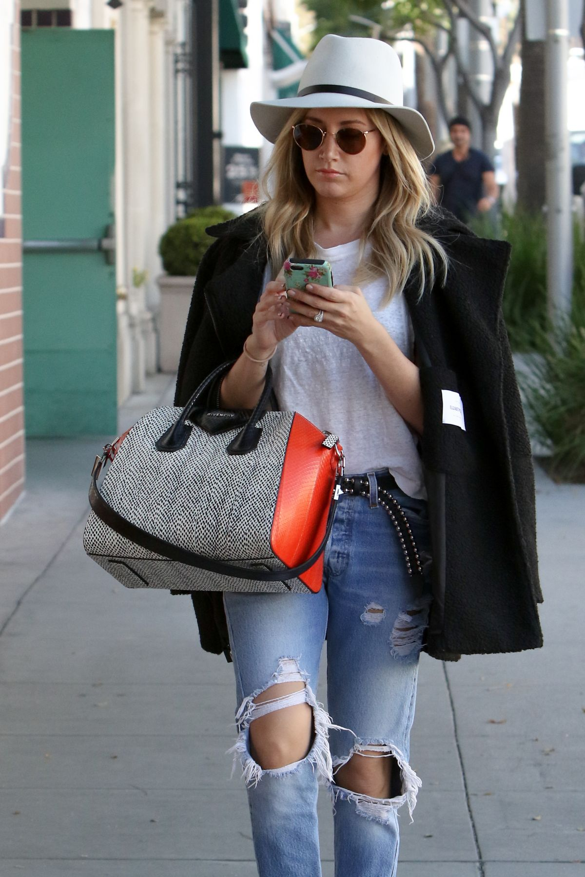 ASHLEY TISDALE in Ripped Jeans Out and About in Beverly Hills 1203