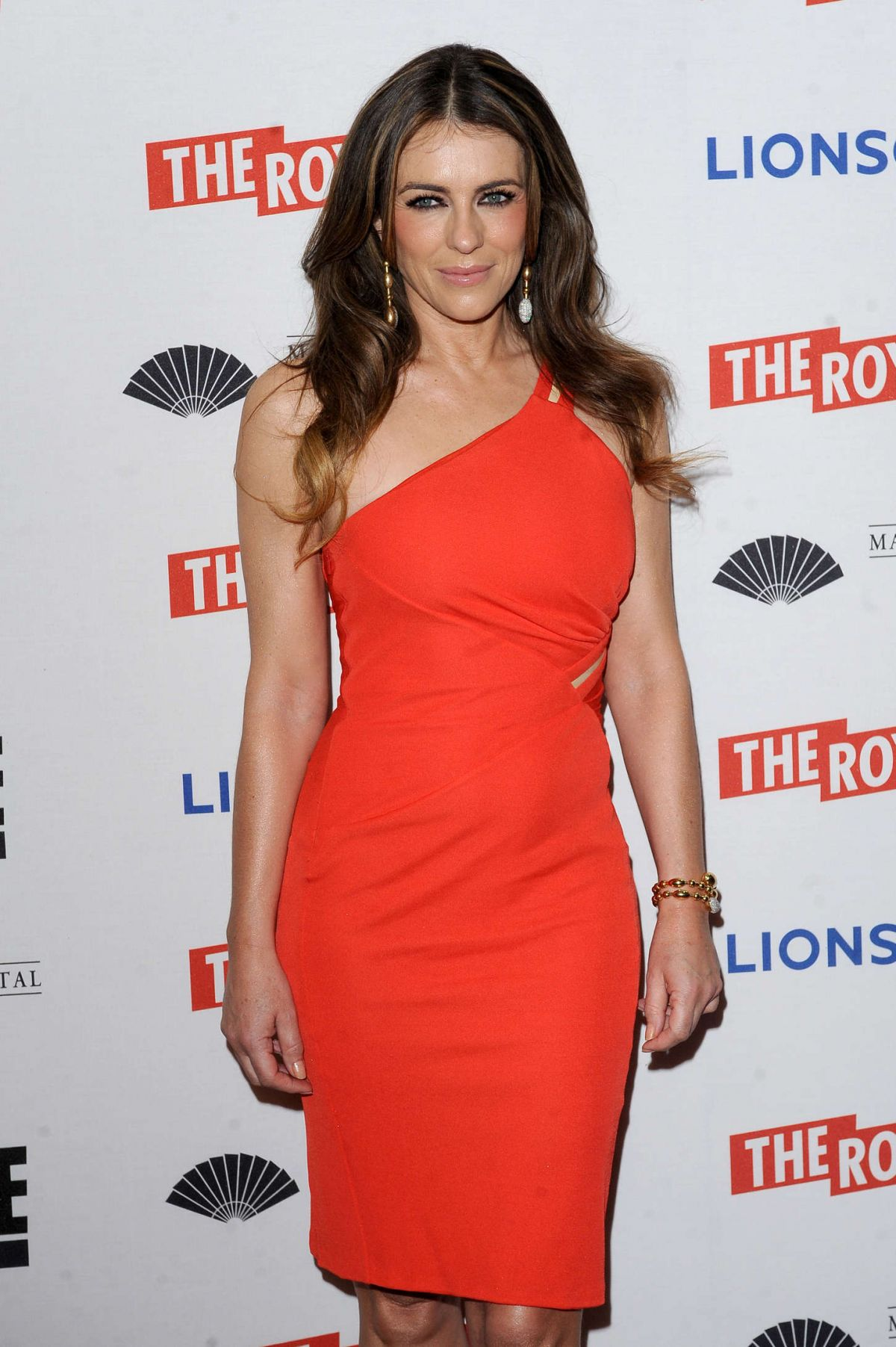 ELIZABETH HURLEY at The Royals Premiere in London