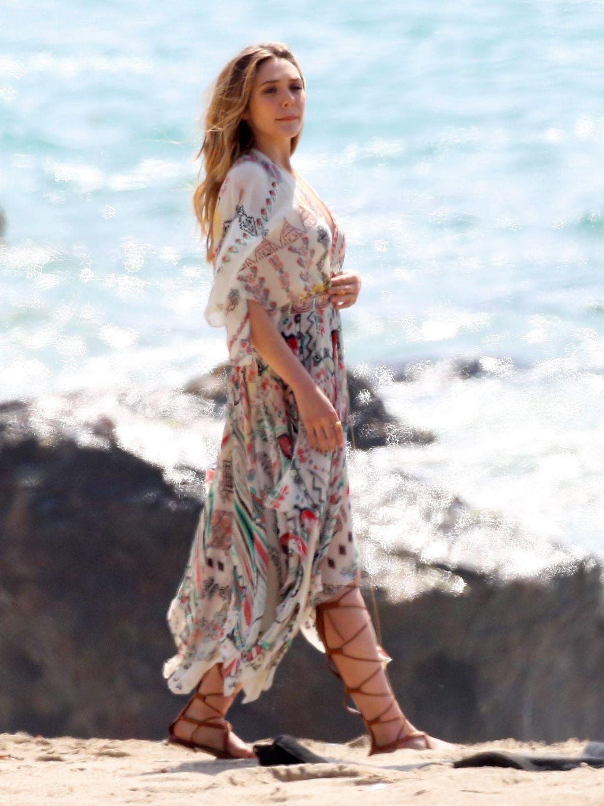 ELIZABETH OLSEN on a Photoshoot at a Beach in Malibu