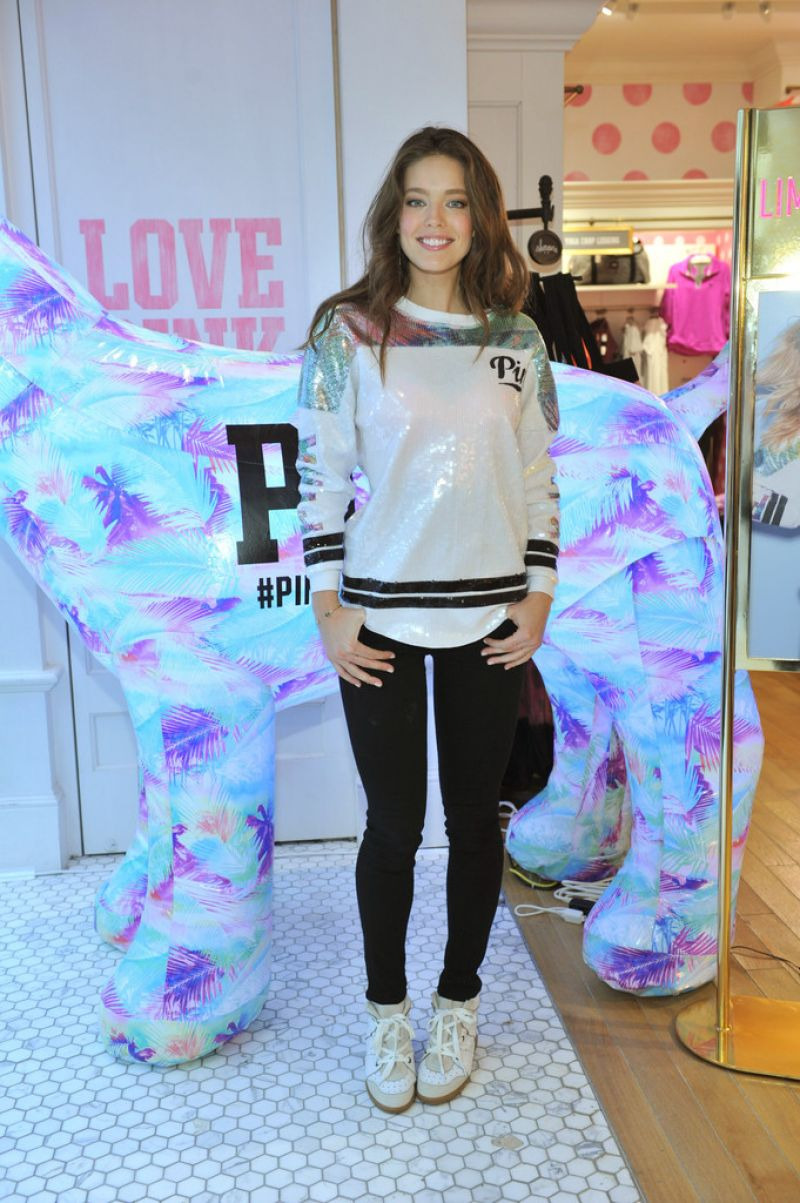 e4748aa4268 EMILY DIDONATO at Victoria s Secret Pink Limited Release Varsity Crew  Launch in Buffalo