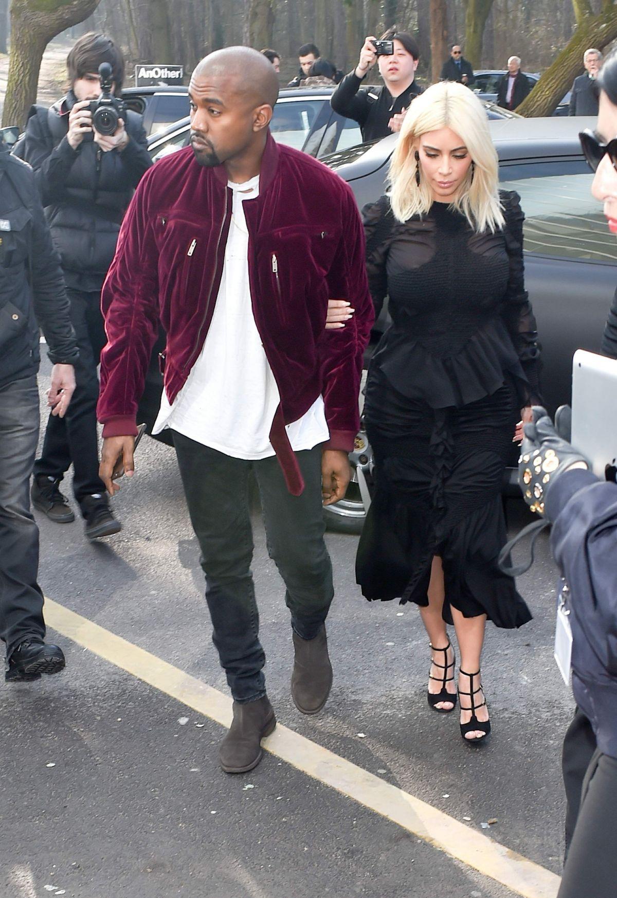 KIM KARDASHIAN and Kanye West at Louis Vuitton Fashion Show in Paris ... 3978d661a9