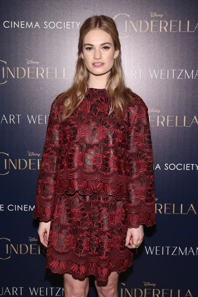 LILY JAMES at Ciderella Screening in New York