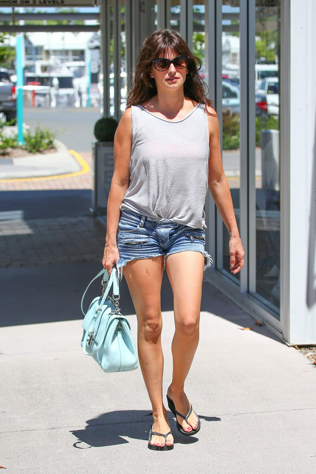 PENELOPE CRUZ in Denim Shorts Out at Gold Coast