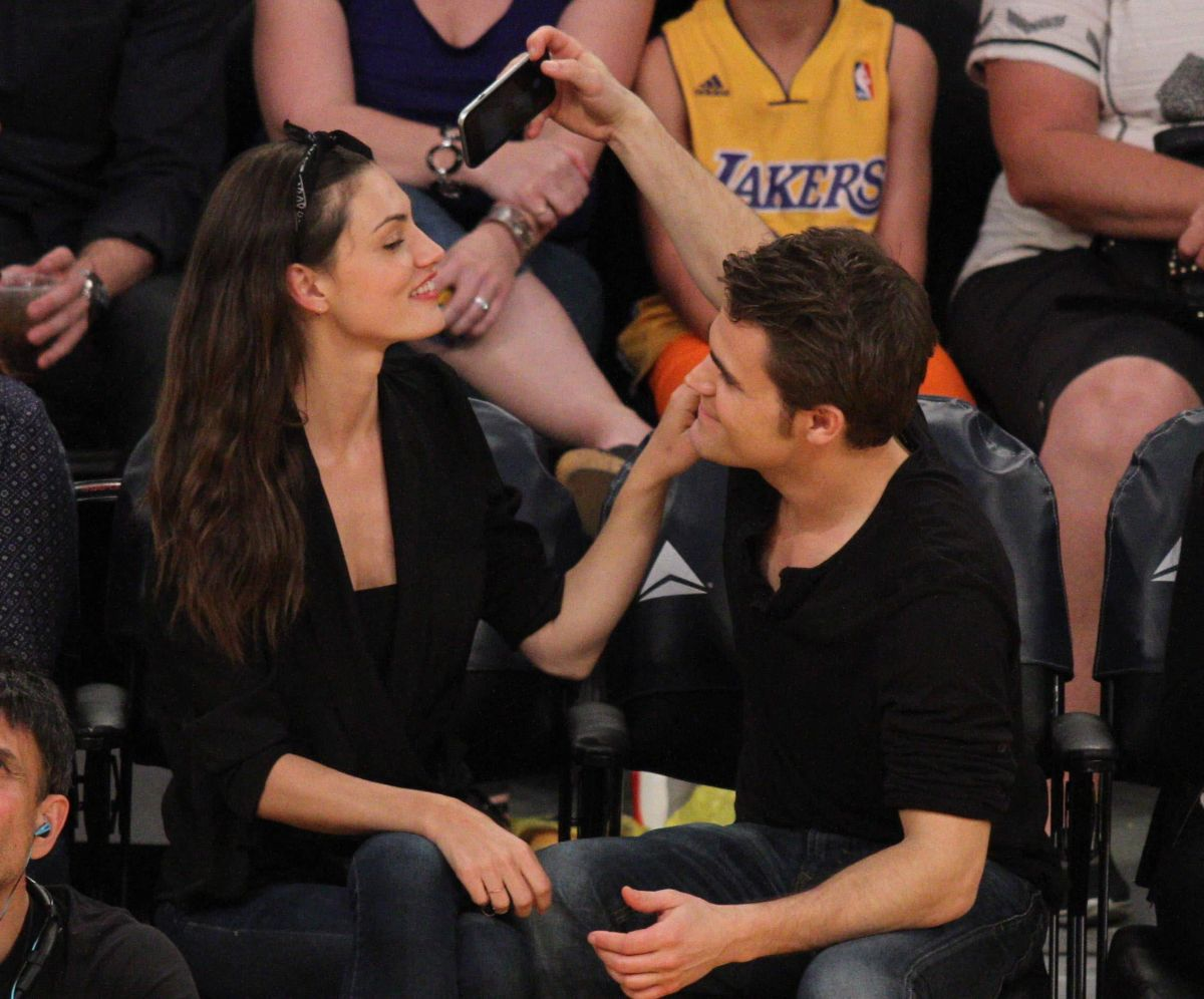 PHOEBE TONKIN and and Paul Wesley at LA Lakers Game ...