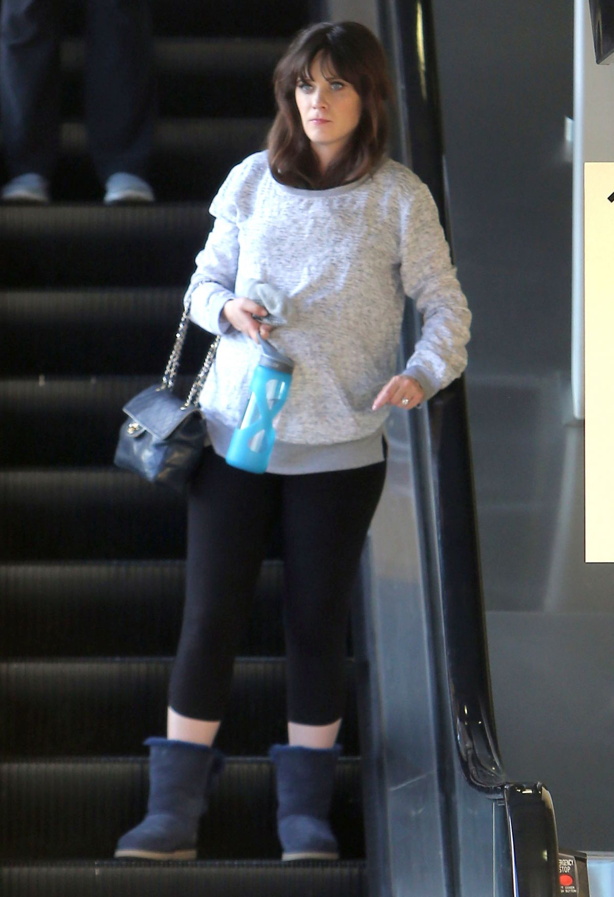Pregnant ZOOEY DESCHANEL Leaves a Gym in Los Angeles ...