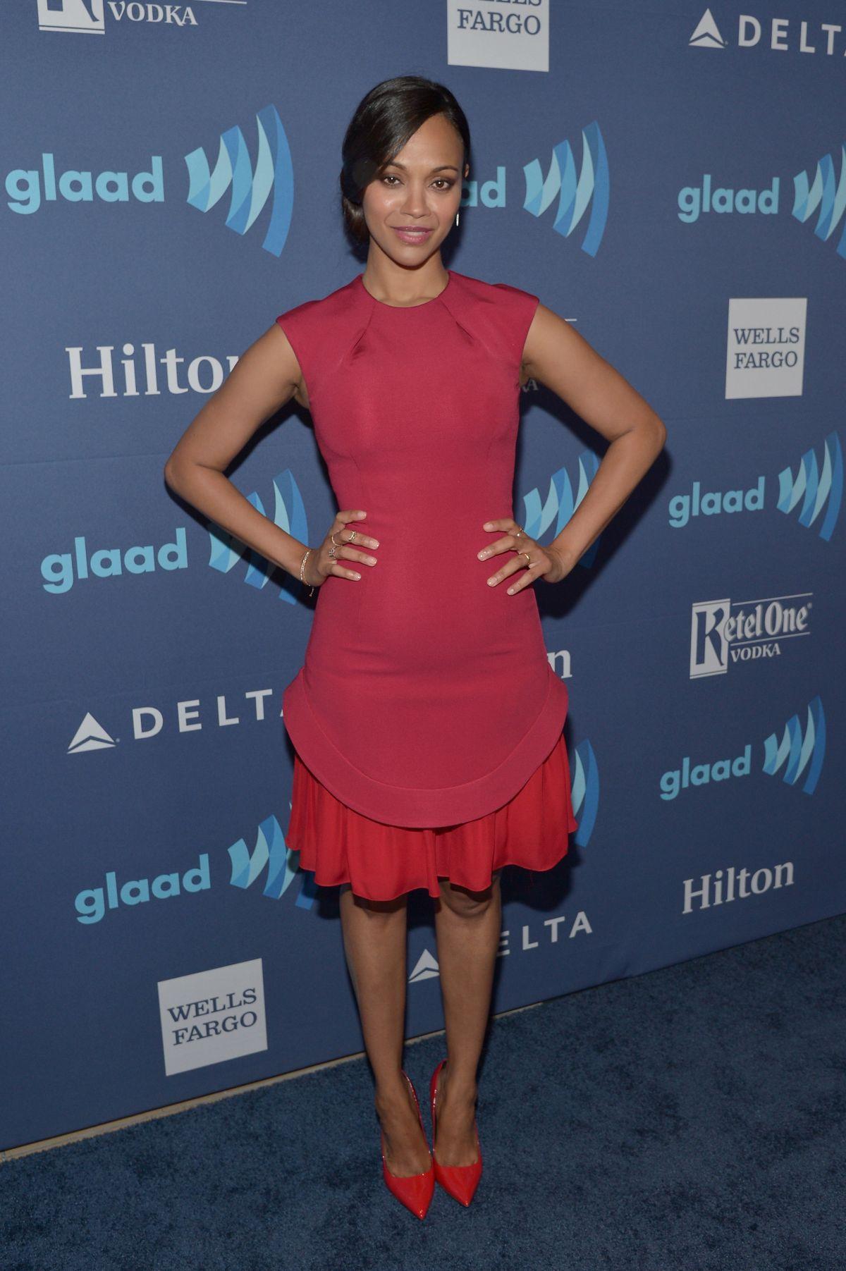ZOE SALDANA at 2015 Glaad Media Awards in Beverly Hills ...