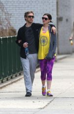 ANNE HATHAWAY Heading to a Gym in New York