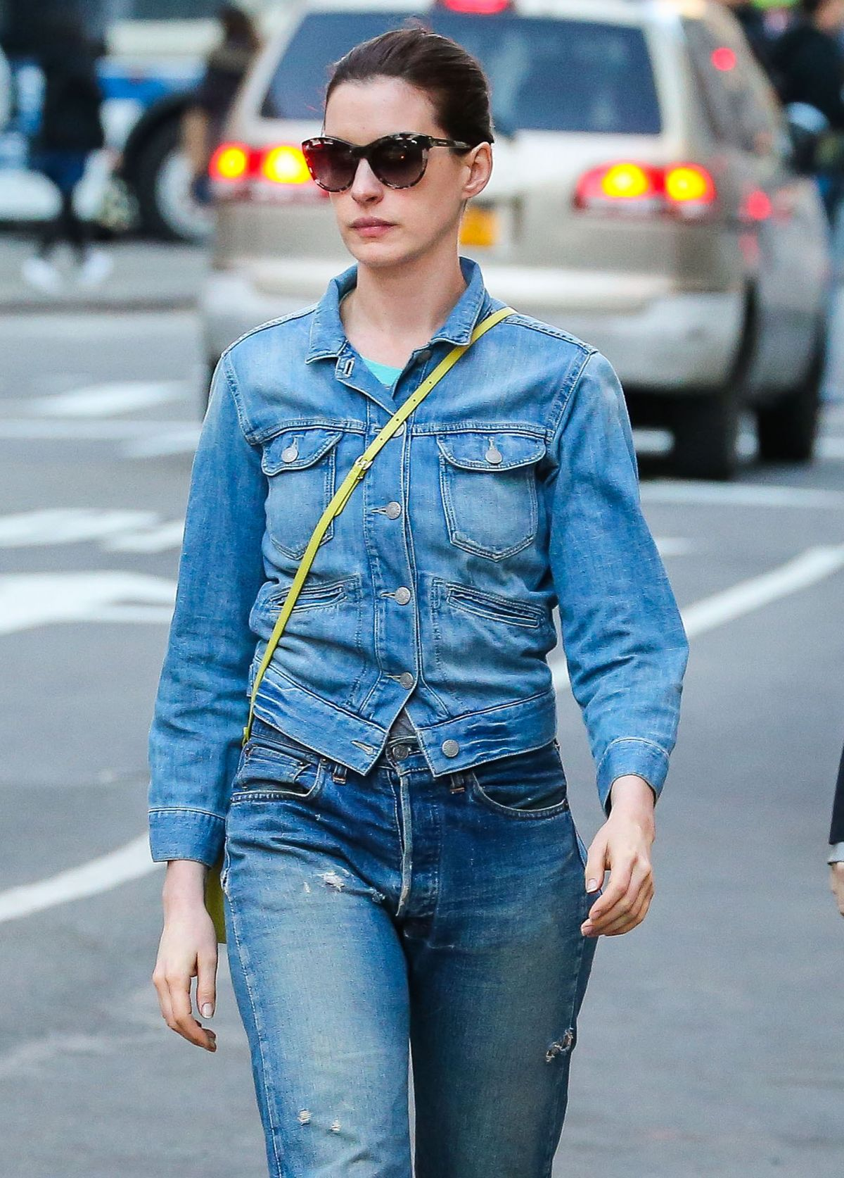 ANNE HATHAWAY in Jeans Out and About in New York