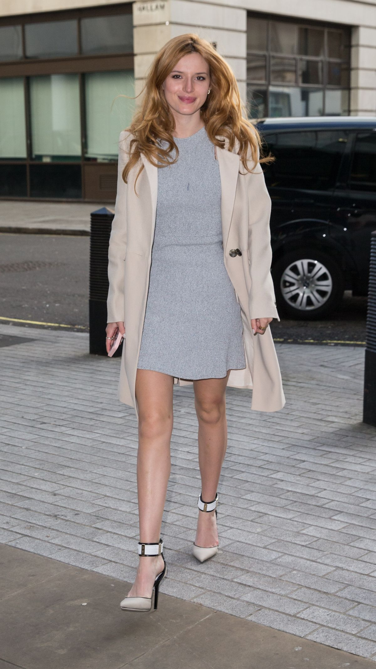 BELLA THORNE Arrives at BBC Radio 1 Studios in London