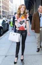 BELLA THORNE in Leather Pants Out and About in New York