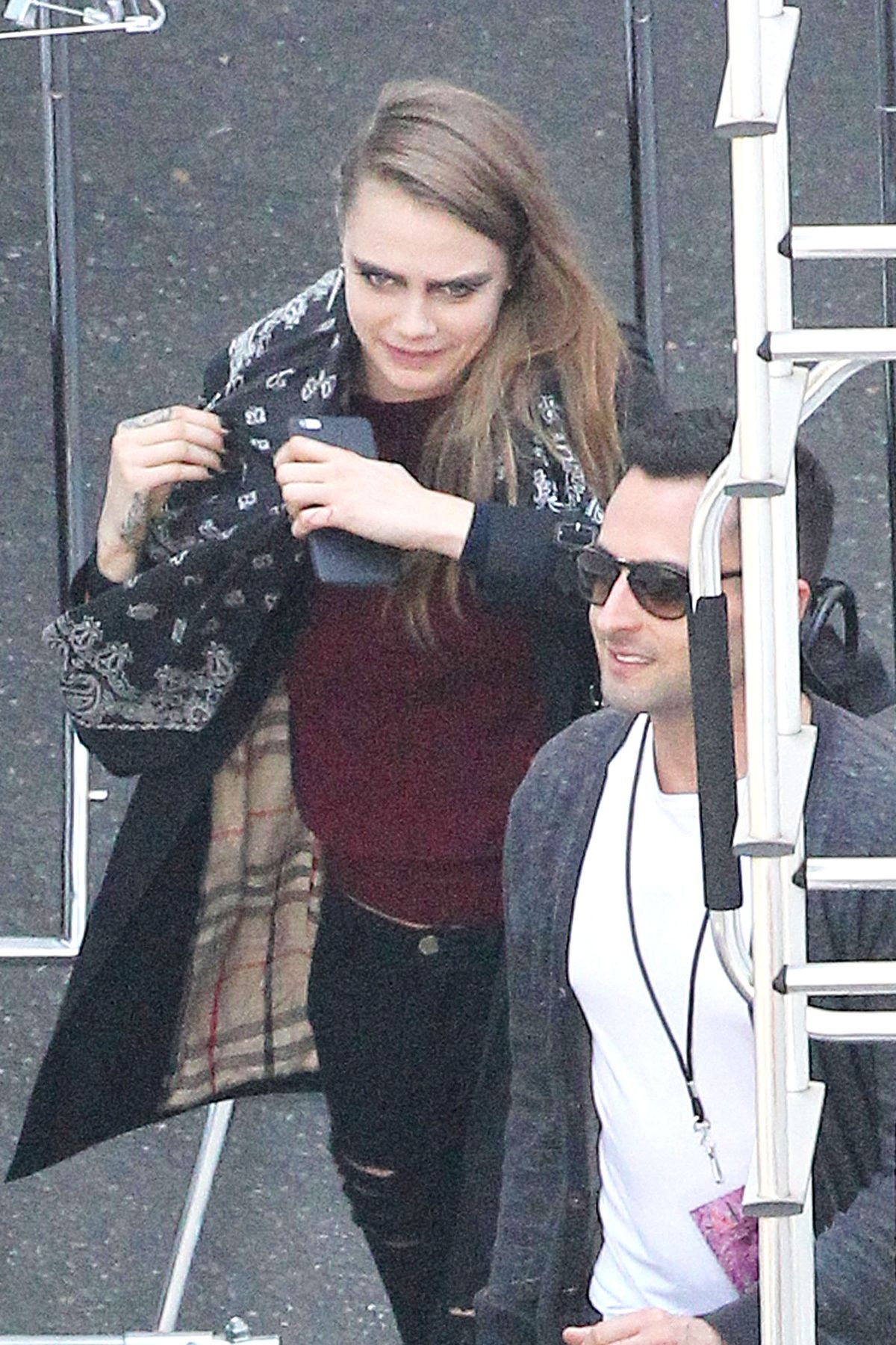 CARA DELEVINGNE on the Set of Taylor Swift