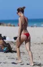CATT SADLER in Red Bikini on the Beach in Miami