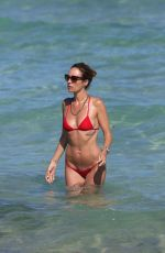 CATT SADLER in Red Bikini on the Beach in Miami