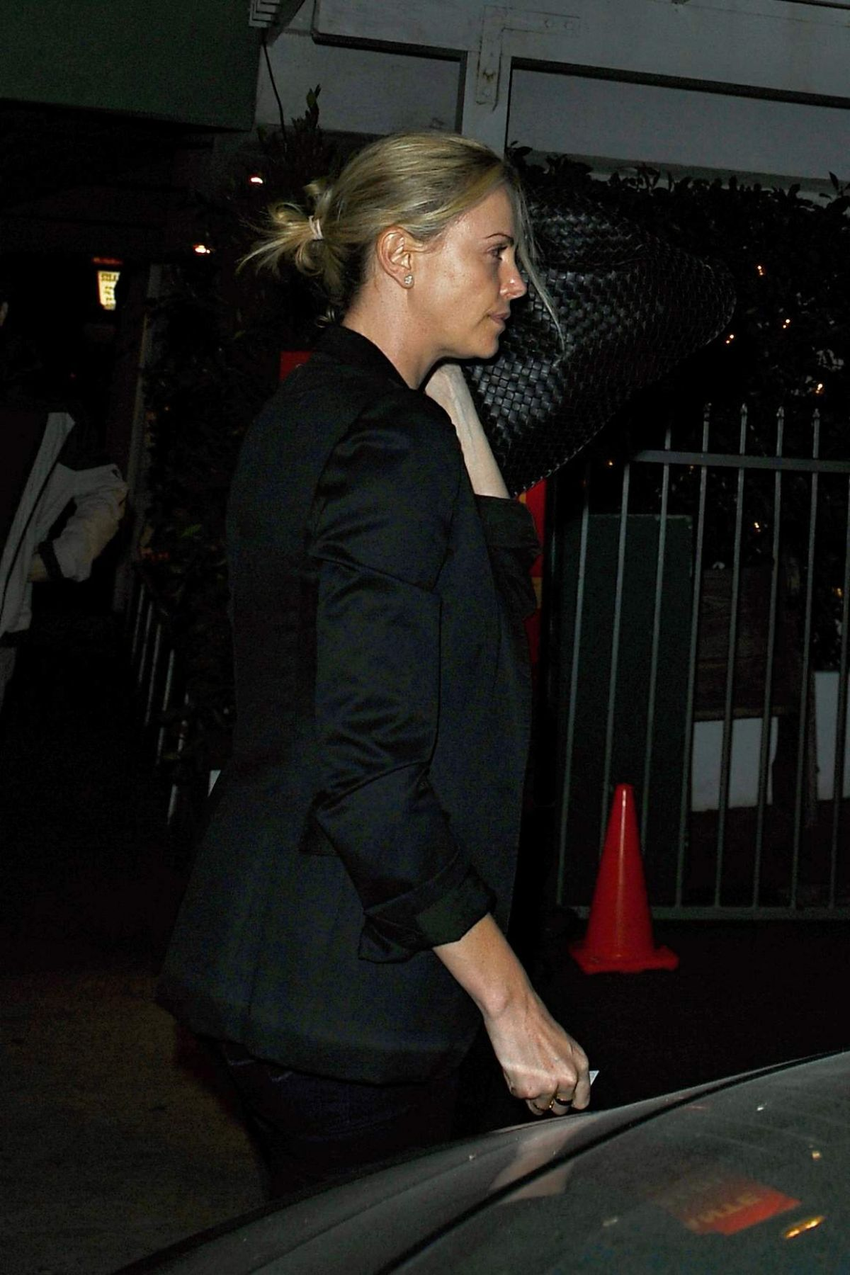 CHARLIZE THERON Out for Dinner in Los Angeles