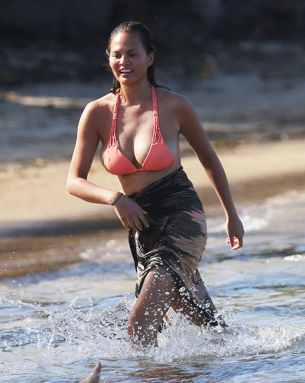 CHRISSY TEIGEN in Bikini on the Beach in The Caribbean - HawtCelebs ...
