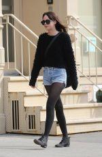 DAKOTA JOHNSON in Jeans Shorts Out in New York