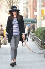 DAKOTA JOHNSON Out with Her Dog in New York