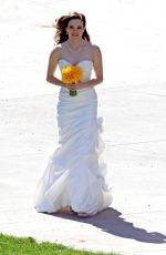DANIELLE PANABAKER in Wedding Dress on the Set of The Flash in Vancouver