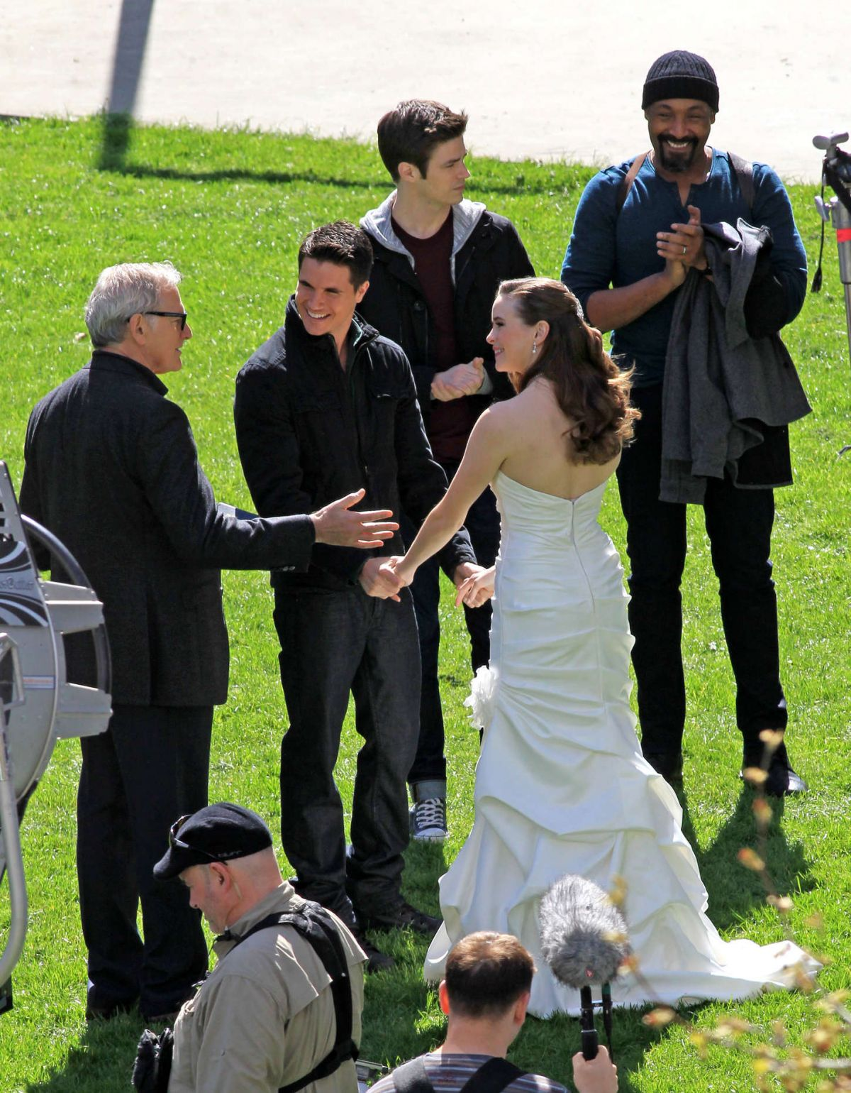 Danielle Panabaker In Wedding Dress On The Set Of The