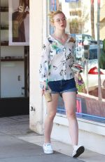 ELLE FANNING in Jeans Shorts Out and About in Studio City 04/18/2015