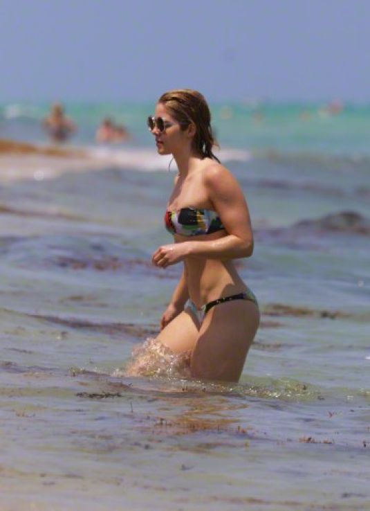 EMILY BETT RICKARDS in Bikini at a Beach in Miami 04/25/2015