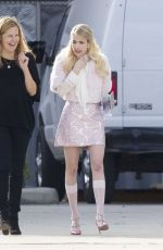 EMMA ROBERTS at Scream Queens Movie Set in New Orleans