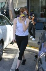 EMMA STONE in Tights Out and About in West Hollywood