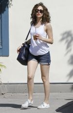 EMMY ROSSUM in Denim Shorts Out in Beverly Hills