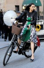 FAMKE JANSSEN Riding a Bike in the Meatpacking District in New York