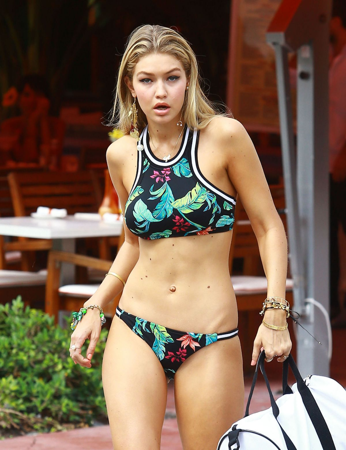 GIG HADID in Bikini on a Photoshoot in Miami 04/24/2015