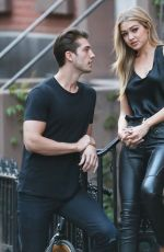 GIGI HADID in Leather Pants at a Set of a Photoshoot in New York