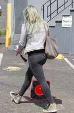 HILARY DUFF in Jeans Arrives at a Dance Studio in Los Angeles