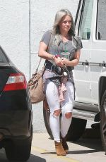 HILARY DUFF in Ripped Jeans Out and About in Hollywood 04/28/2015