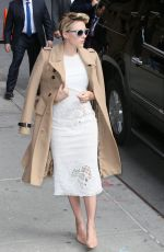 SCARLETT JOHANSSON Arrives at Late Show with David Letterman in New York 04/27/2015