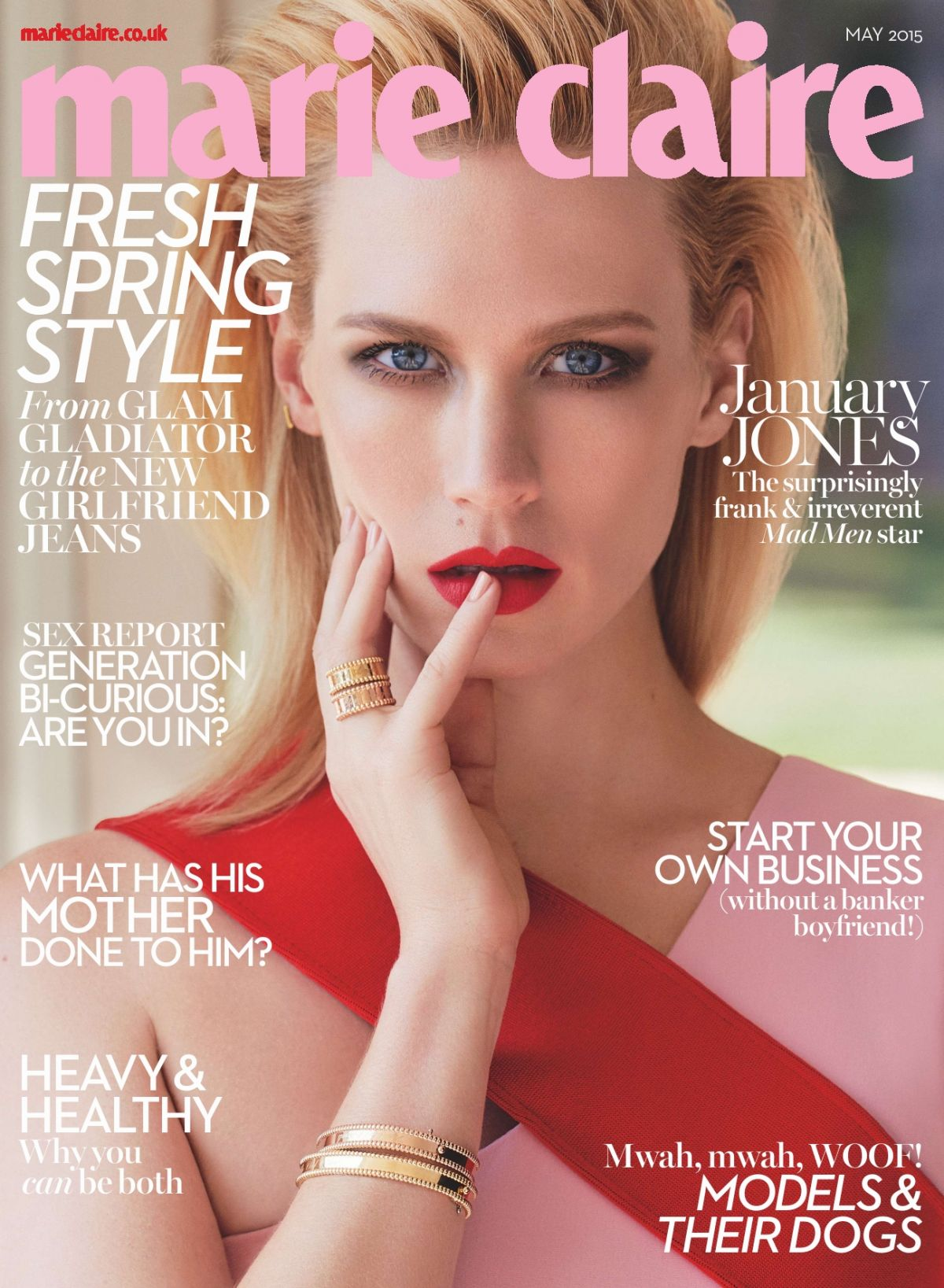 january jones marie claire magazine may 2015 issue hawtcelebs. Black Bedroom Furniture Sets. Home Design Ideas