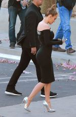 JENNIFER LOPEZ in Tight Dress at American Idol Set in West Hollywood