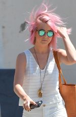 JULIANNE HOUGH with Pink Hair Out in Los Angeles