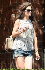 KATIE HOLMES in Jeans Shorts Leaves Starbucks in Beverly Hills